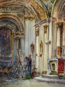 Artist at Siggiewi church - Malta