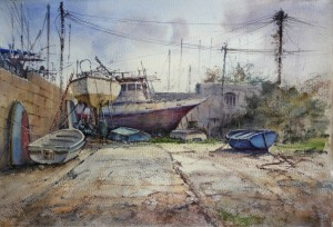 Boat yard at Manoel Island 2015