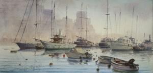 Boats at the jetty Gzira creek - Malta