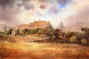 Spring clouds over citadel Gozo