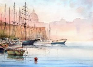 a three master at Manuel Island marina - Malta