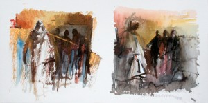 two studies for the temptations of Christ